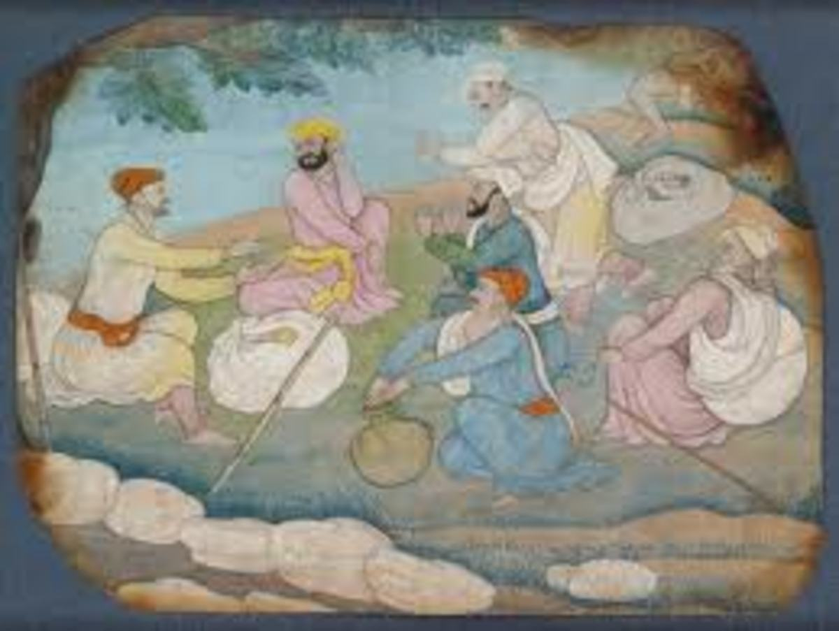A group of Pahari travellers singing a folk song by the wayside, one of them beats the rhythm on a clay pot, while others clap and a man dances. Nainsukh.