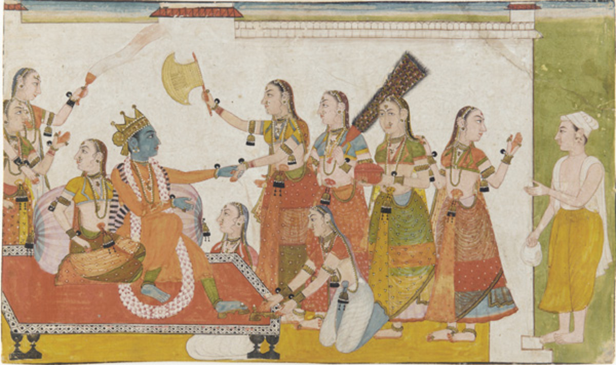 Krishna welcomes Sudama, Bhagavata Purana, 17th century