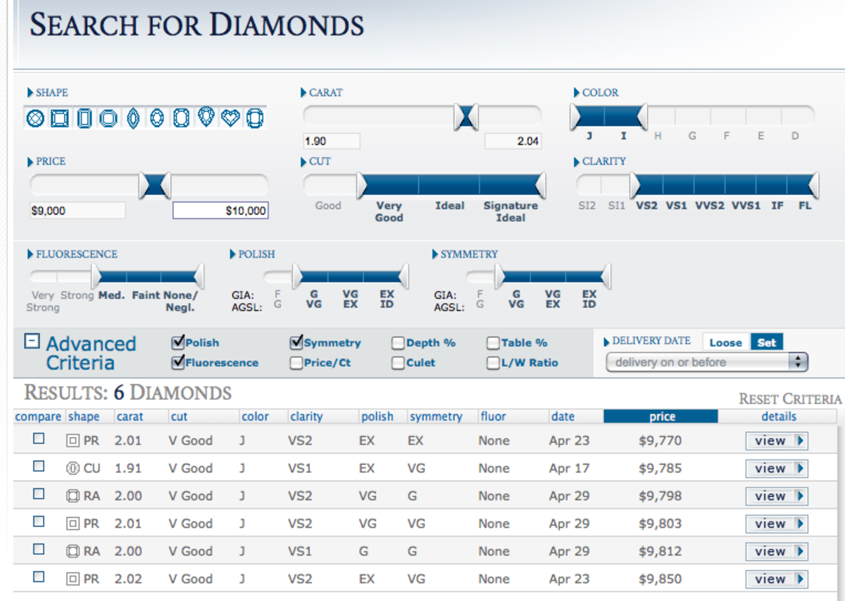 Find a diamond on Blue Nile today