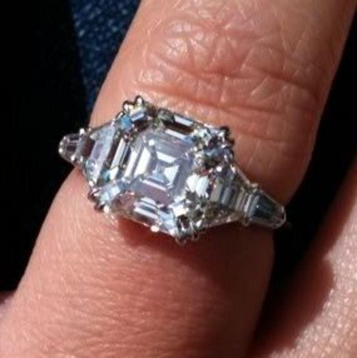 Asscher cut diamonds look great in K L M color