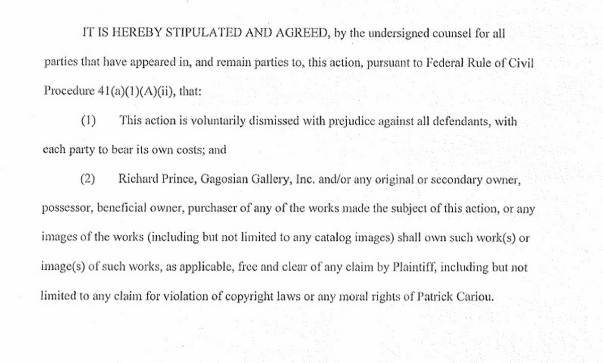 Richard Prince's side of the settlement agreement. Notice how detailed it is compared to Cariou's.  Looks like he has a lot more to be worried about and put it all in writing.