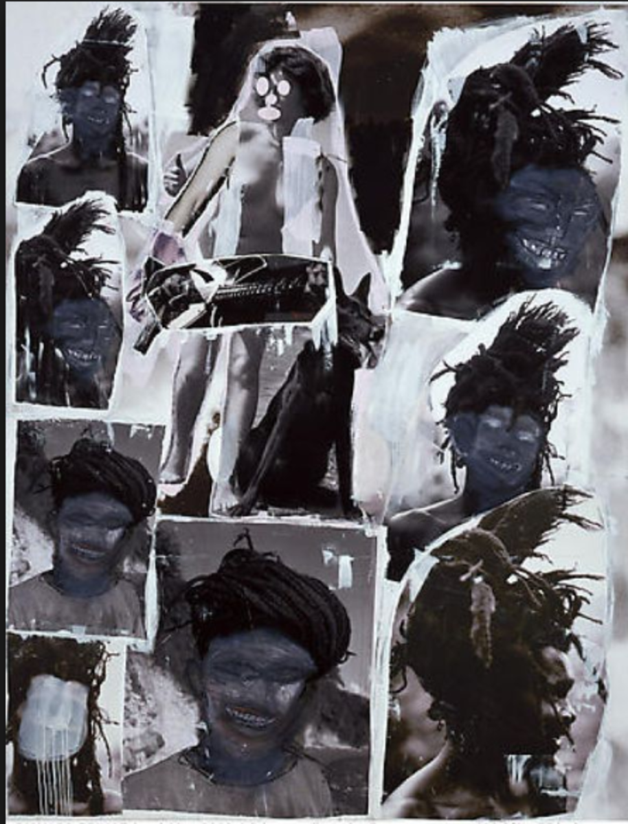 This is clearly showing Cariou's photographs, but Prince put them on one canvas, added paint and other materials, and now he says the artwork featuring Cariou's photos is his.