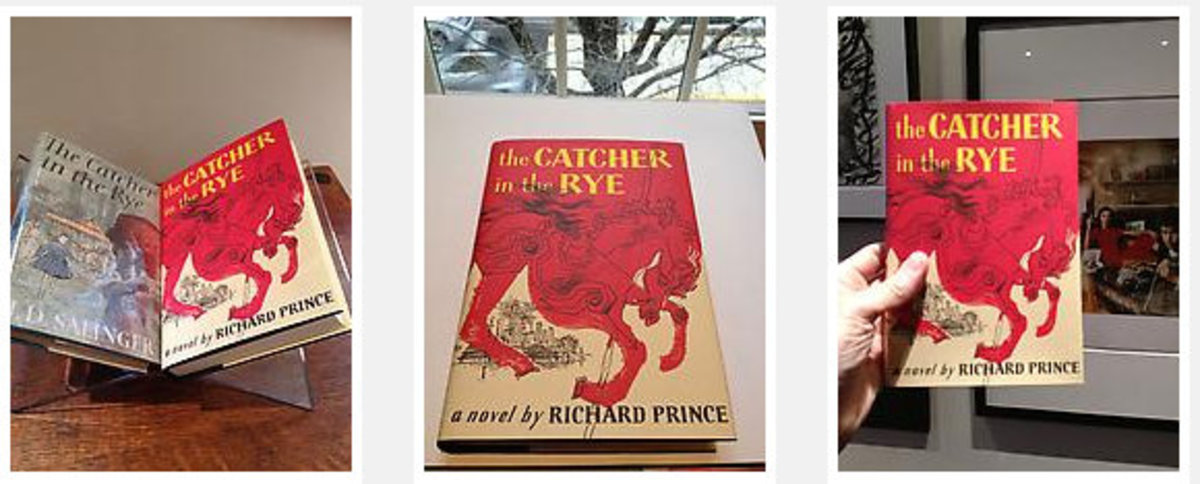 "The book ""The Catcher in the Rye"" with Prince's new cover, removing JD Salinger's name as author and showing Richard Prince's name as the new author."