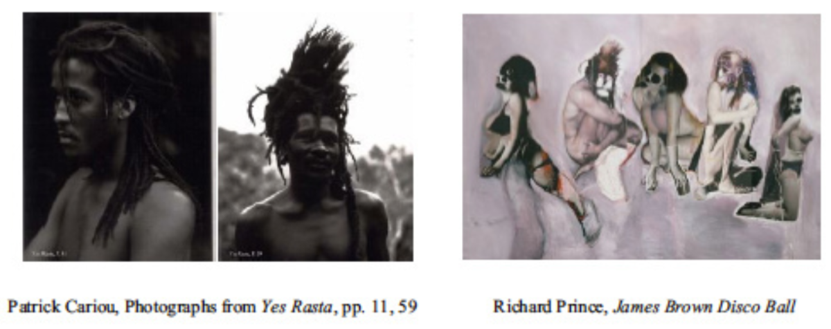 Cariou original subjects on left, Prince's altering of subjects from Cariou's photos on the right.  Because Prince's subjects could have come from ANYWHERE, the court could not say they belonged to Cariou, so Prince has the right to use them.
