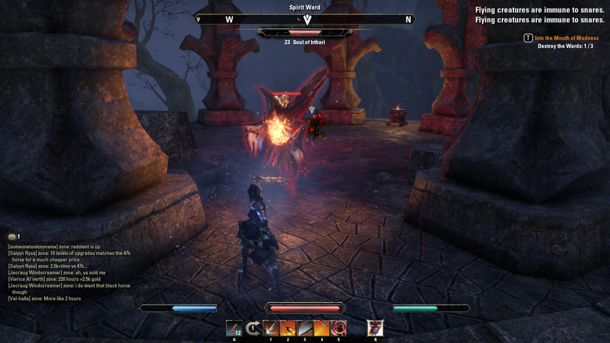 Fighting through Eidolon's Hollow in the Into the Mouth of Madness quest in The Elder Scrolls Online.