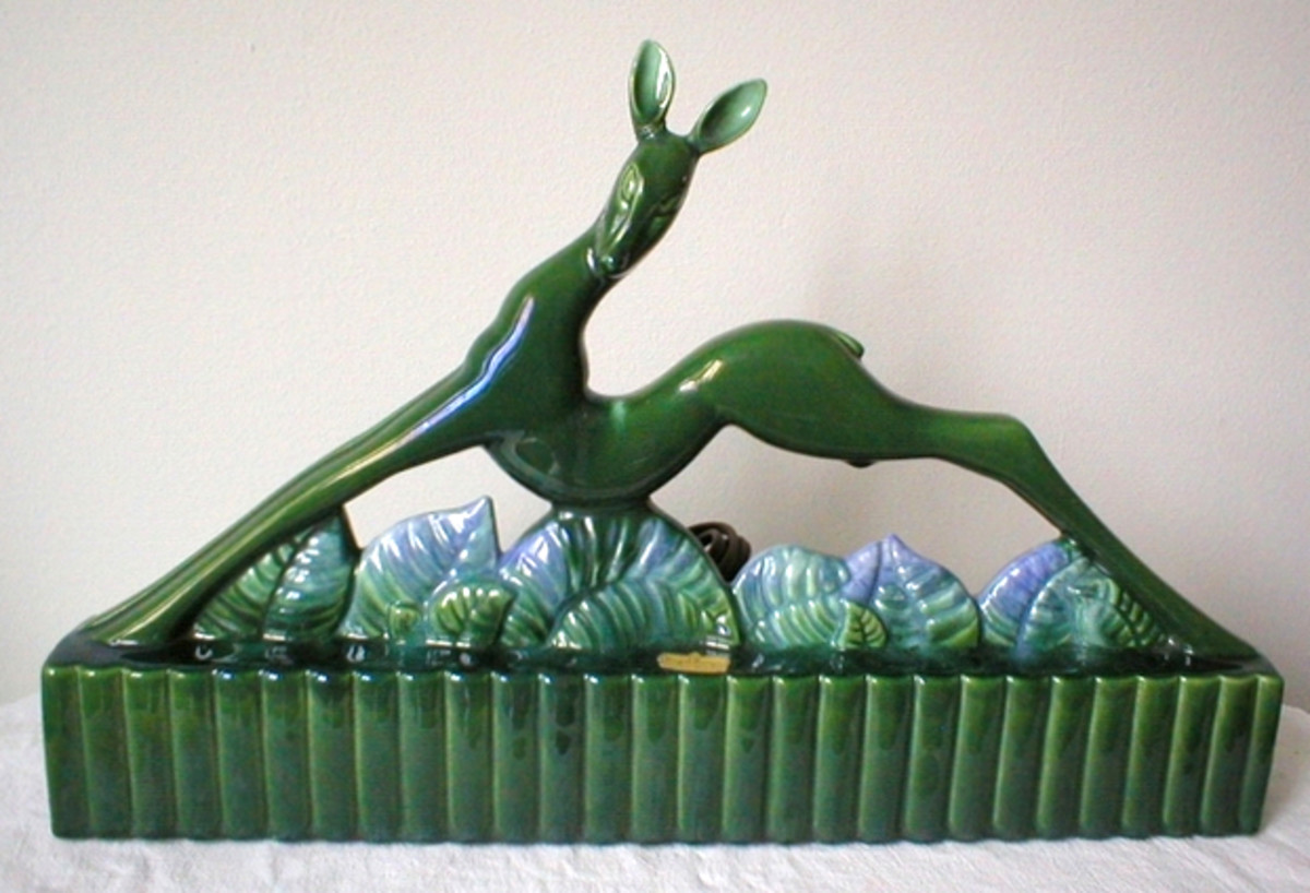 A stylistic deer TV lamp by Haeger Potteries.