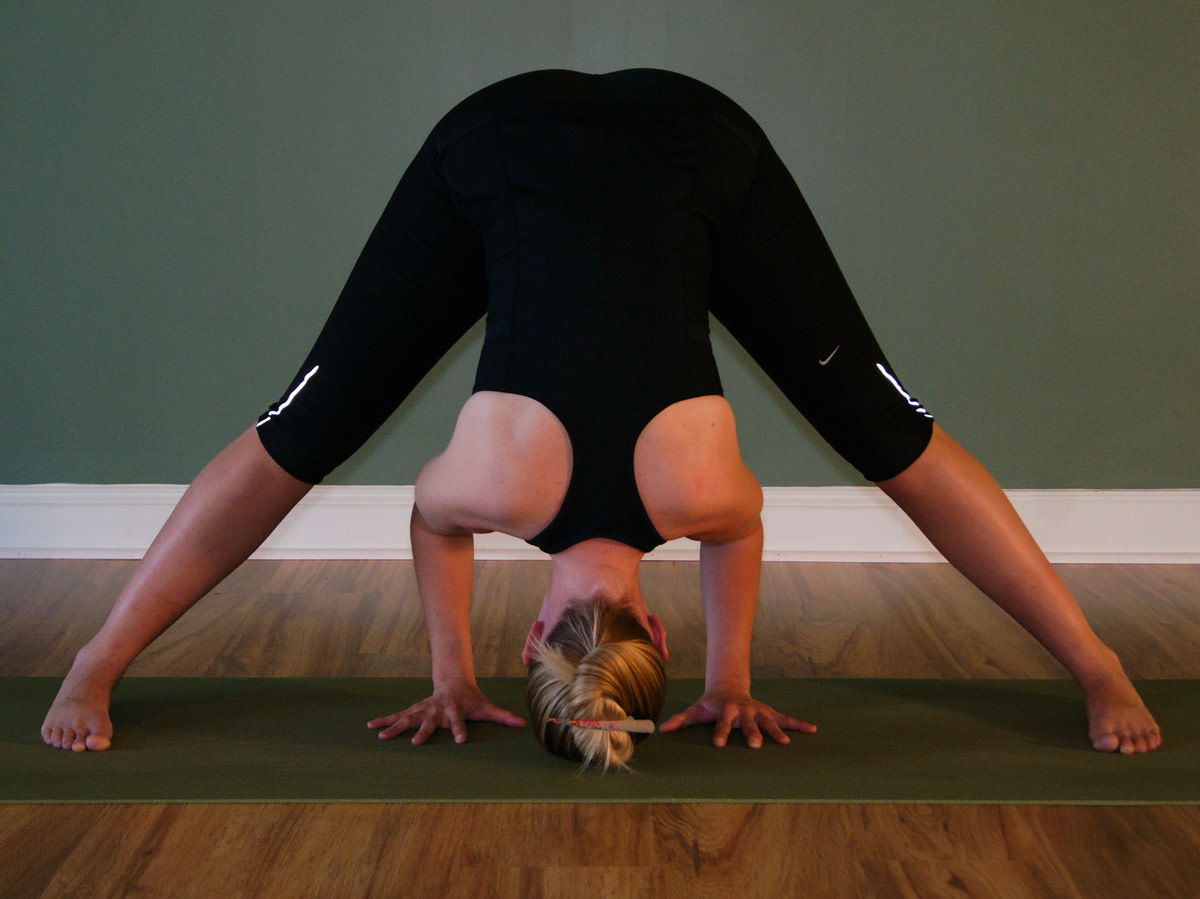 Usually called prasarita padottanasana, this is dandayamana bibhaktapada paschimotthanasana in a Bikram class
