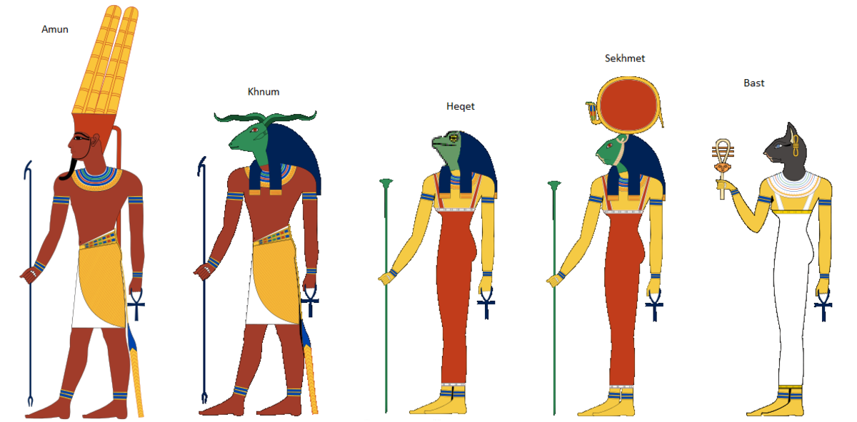 Egyptian Gods from Hatshepsut's Birth Story (each god holds an ankh-symbol of life)