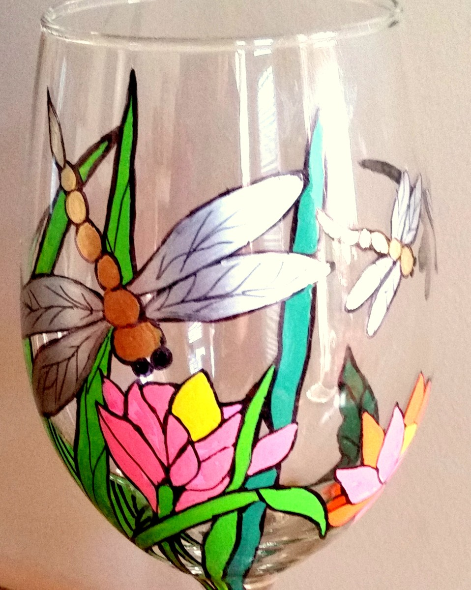 Dragonfly Hand-Painted Wine Glass