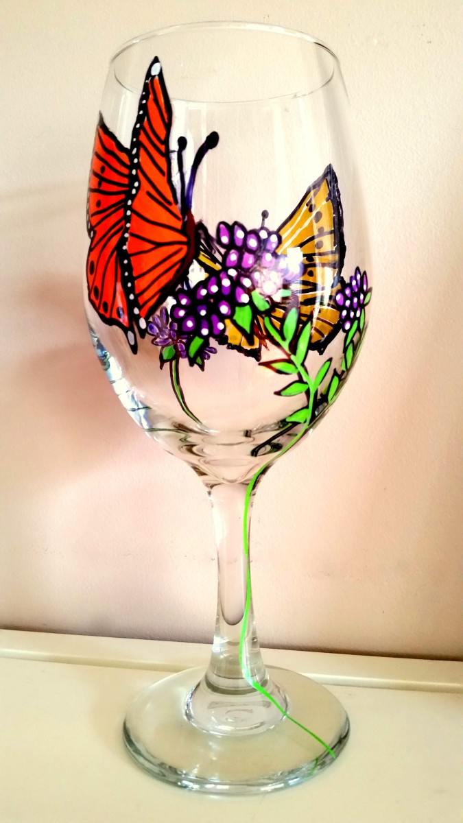 Butterfly & Purple Flowers Hand-Painted Wine Glass