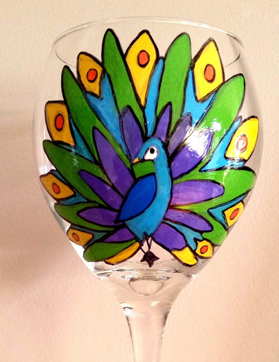 Peacock Hand-Painted Wine Glass