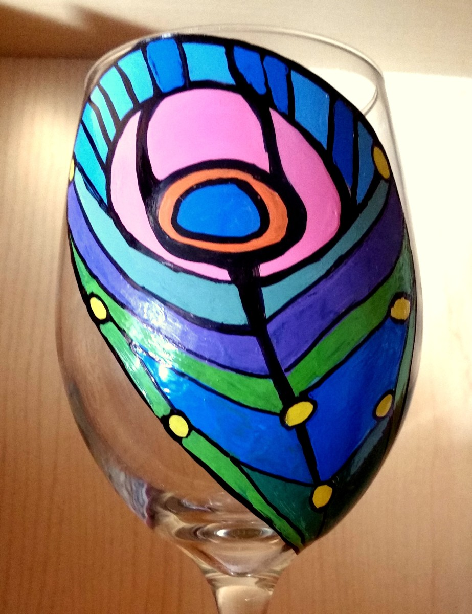 Peacock Feather Hand-Painted Wine Glass