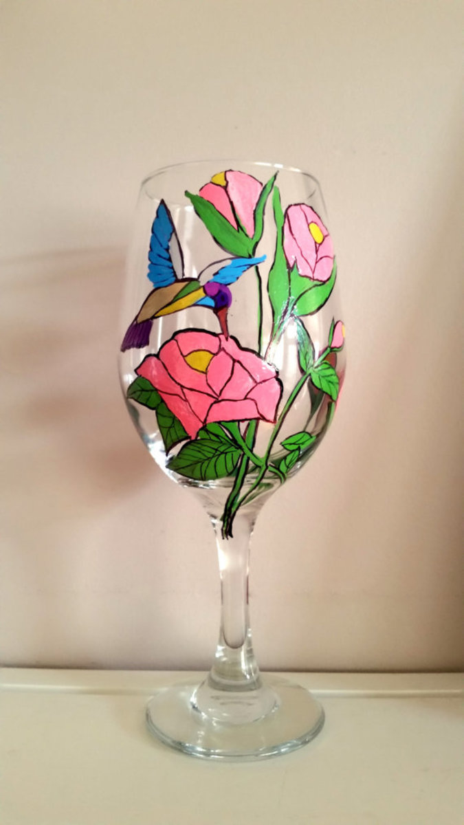 Hummingbird Hand-Painted Wine Glass