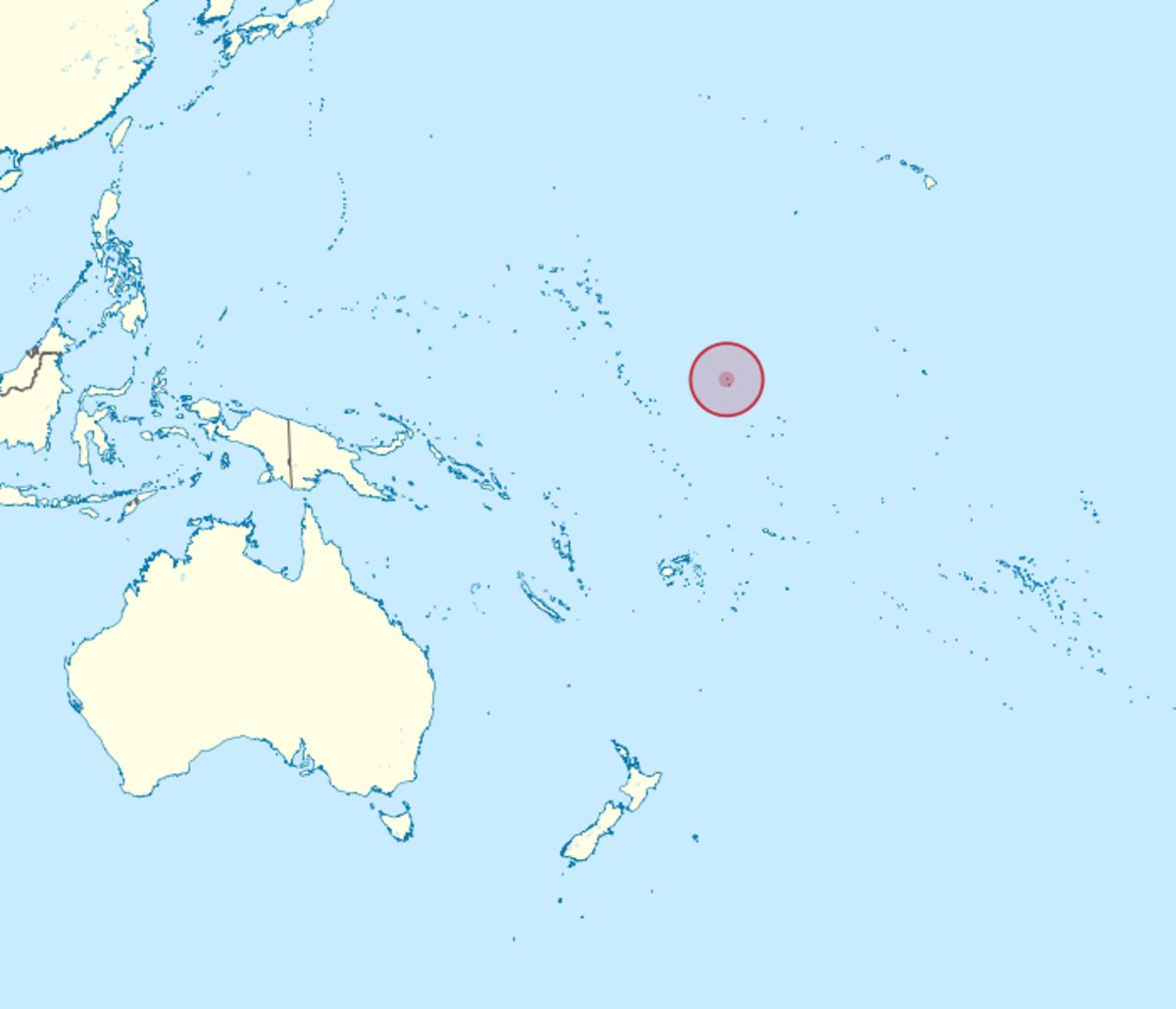Approximate location (Refer circular shaded area) of Howard and Baker Islands in the Pacific Ocean. The rough co-ordinates for both islands are 0 to 1 Degree North and 176 Degrees West.