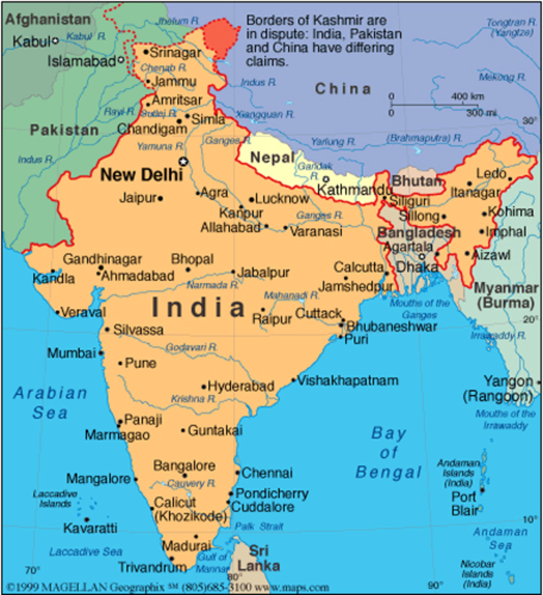 Map of India and neighboring countries