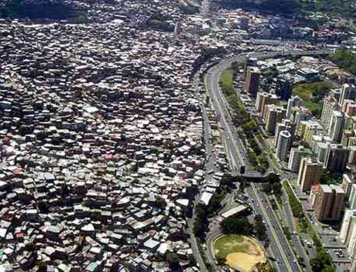 An aerial shot of Caracas, Venezuela's capital city, showcasing its heavily contrasting soceities.