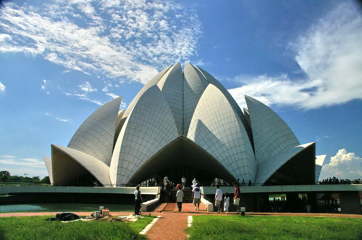 The Lotus Temple at New Delhi, India (This is one of the only 7 temples across the world dedicated to the Ba'hai faith - an eigth one in Ashgabat, Turkmenistan was demolished in 1963 due to safety concerns)