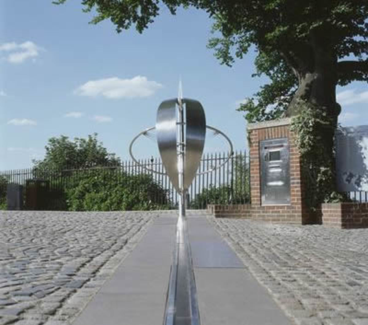 The 0 Degree Longitude (or the Prime Meridian) passing through the Royal Observatory at Greenwich in London, England.