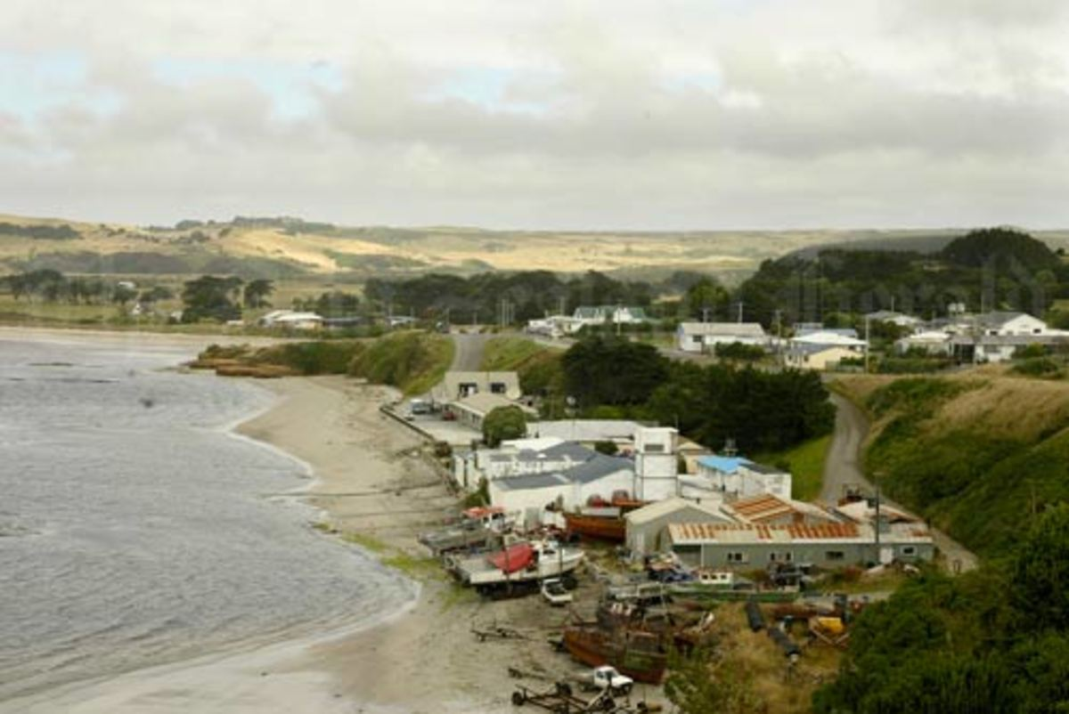 A picture of Waitangi, the largest settlement within the Chatham Islands archipelago