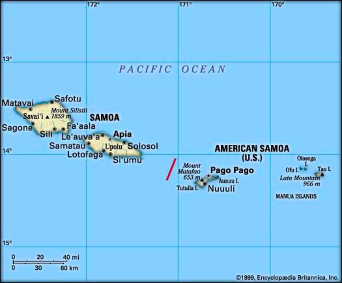 Map showing the location of American Samoa and the independent islands of Western Samoa (officially known as 'Samoa') in the Pacific Ocean