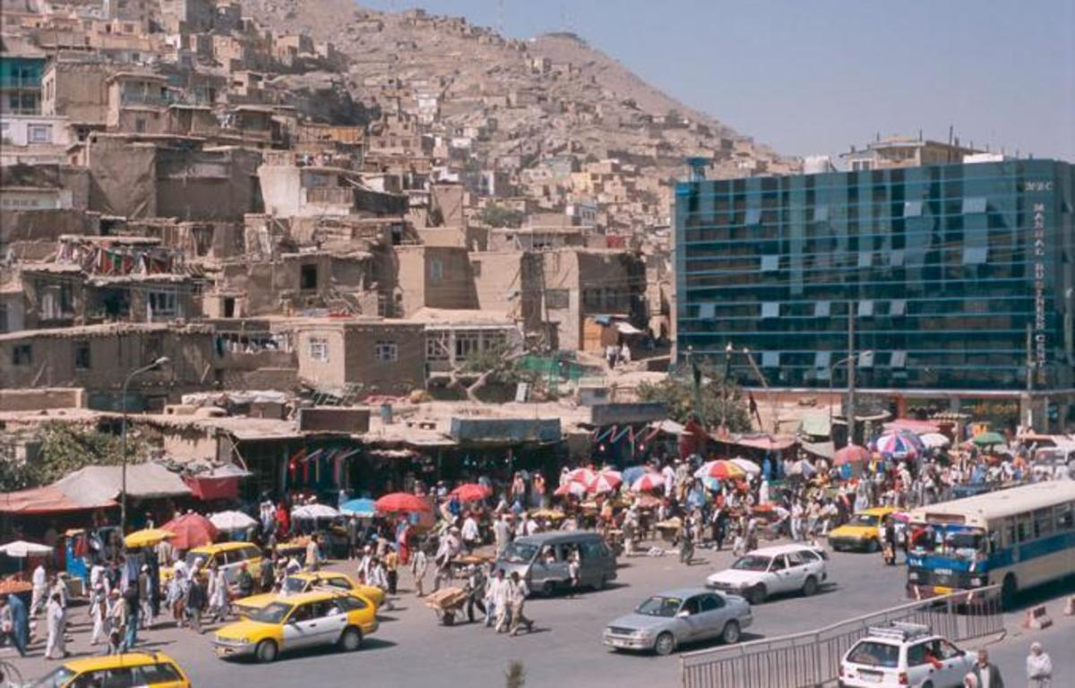 A picture of the Afghan capital city of Kabul, clearly showing its stark urban contrasts.