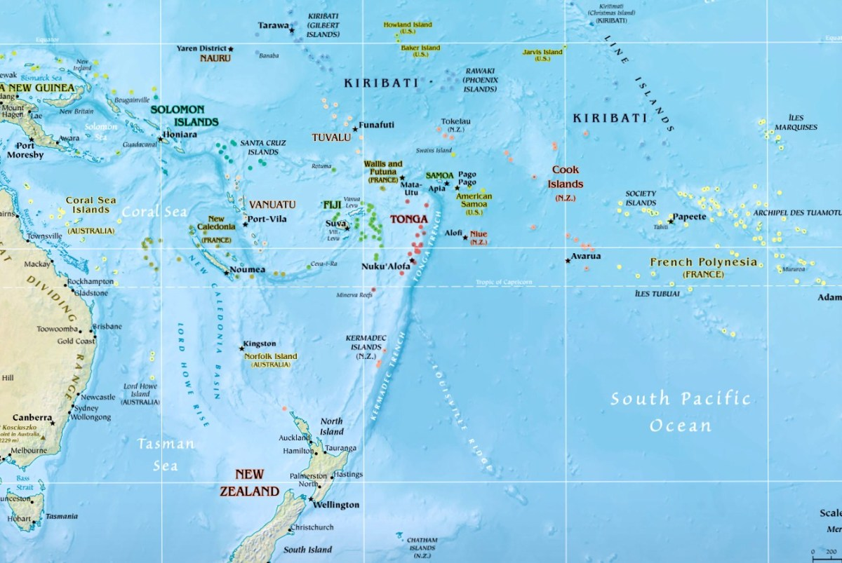 Map of Oceania showing the location of Lord Howe Island off Australia's east coast - Lord Howe island follows UTC + 10:30 as standard time and UTC + 11:00 during Daylight Savings