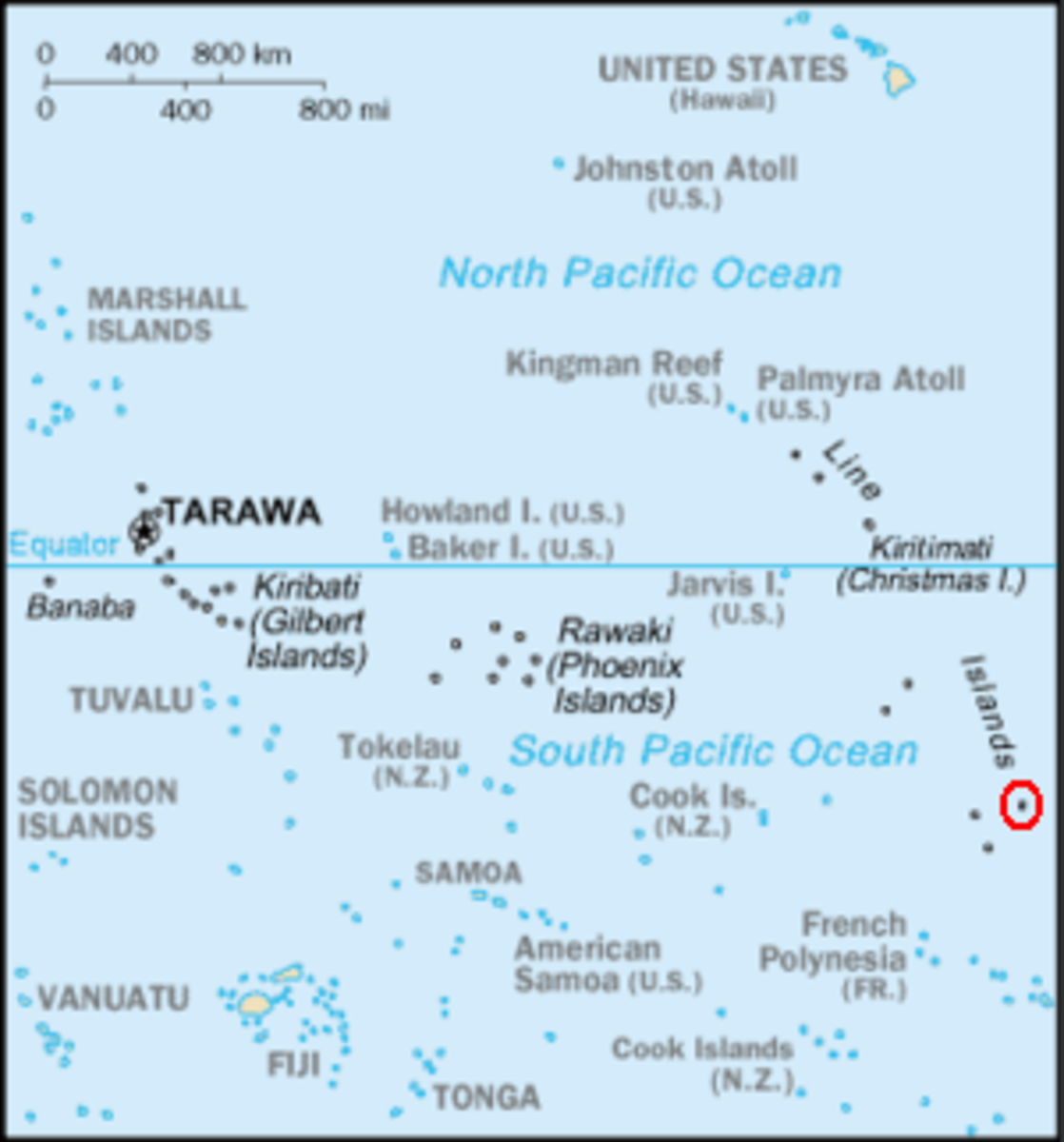 Map of the Pacific Ocean showing the location of Kiribati's Islands, its capital, Tarawa and the archipelago's easternmost point, Caroline Atoll (shaded by a red circle) which is the first place on Earth to see a new calender day
