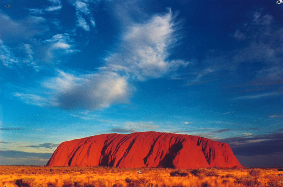 Uluru (Ayers Rock) which is located almost at the geographical center of Australia in the Northern Territory