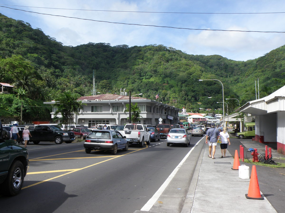 A street in downtown Pago Pago, the capital of American Samoa