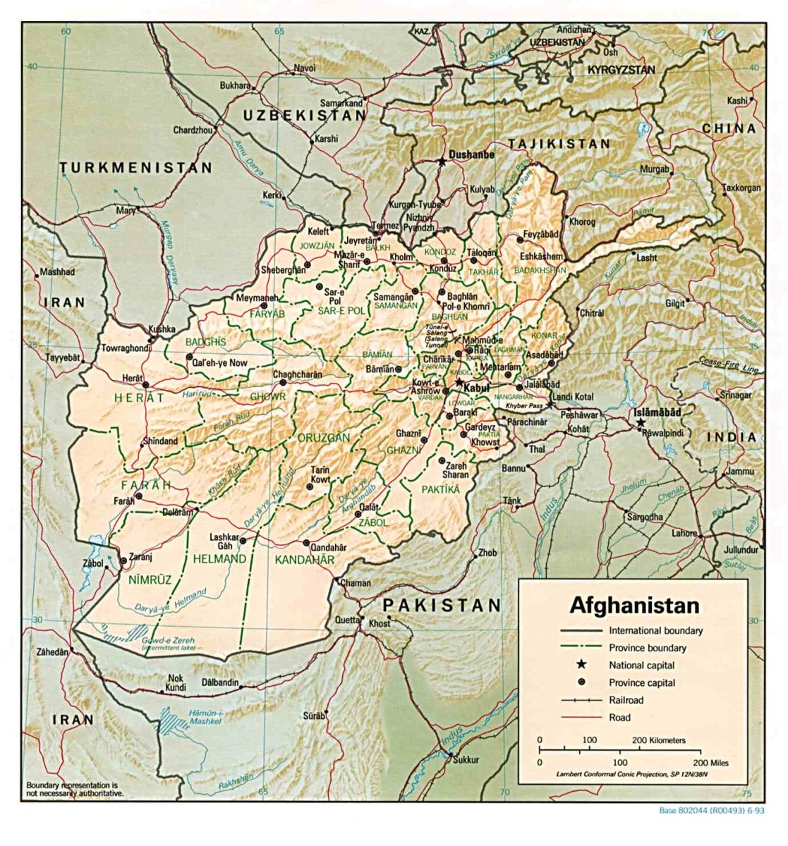A detailed map of Afghanistan which follows the UTC + 4:30 time zone.