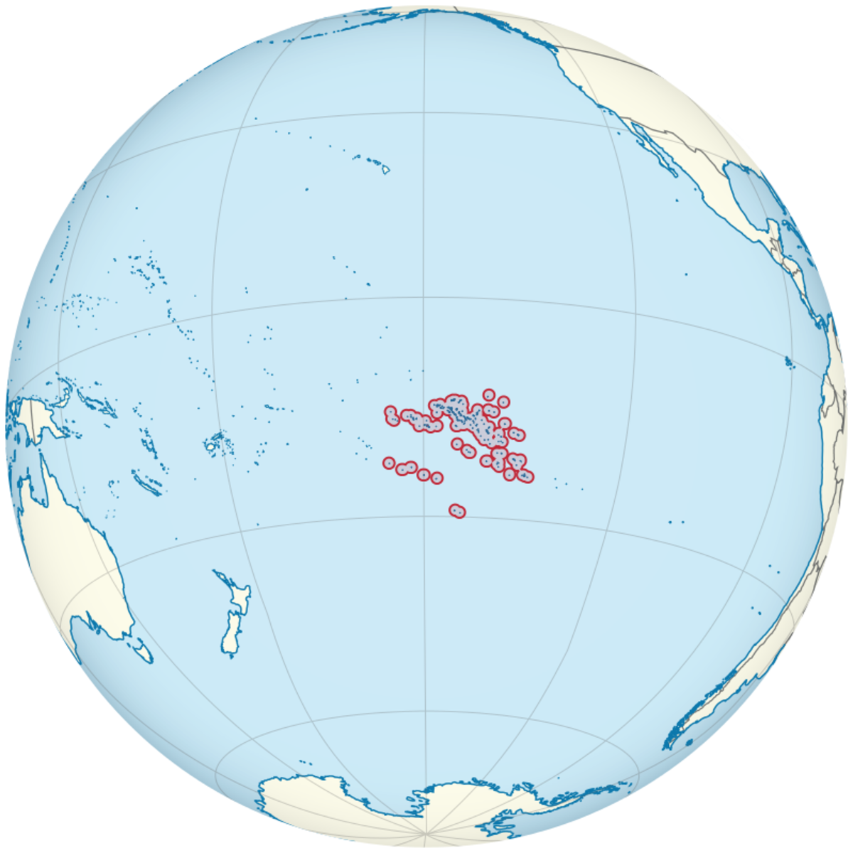 Location of French Polynesia in the Pacific Ocean
