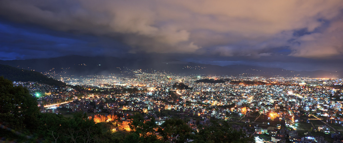 Dawn at Kathmandu, the capital city of Nepal (Photo taken from an uphill town named Nagarkot)