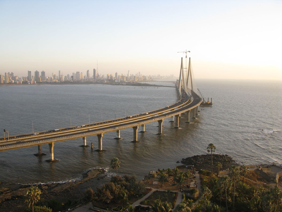 The 'Bandra-Worli' Sea Link Cable Stayed bridge in Mumbai (Maharashtra), India.
