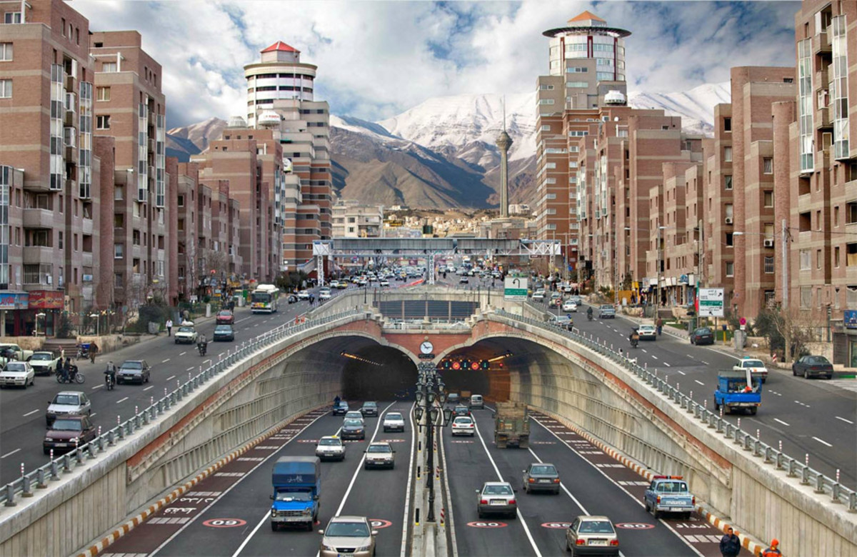 A tunneled motorway in downtown Tehran, Iran.