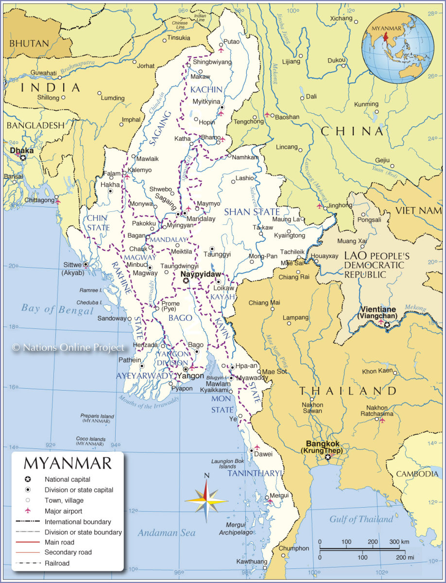 Administrative map of Myanmar