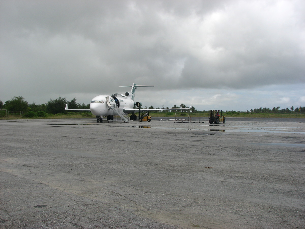 An Asia Pacific Airlines Boeing 727-200Freighter parked at Cassidy International Airport at Kiritimati (Rough co-ordinates are 1 Degree North and 157 Degrees West)