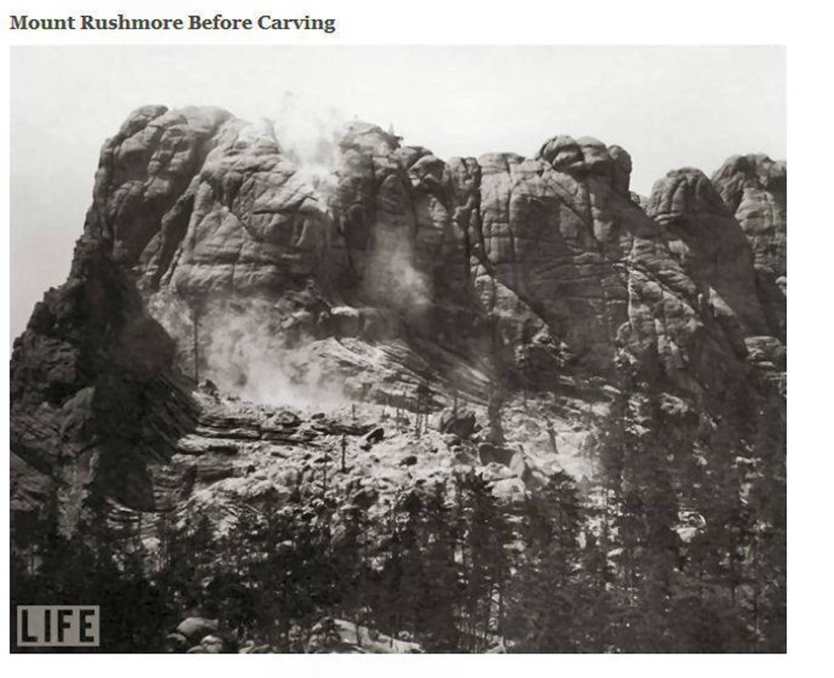 Six Grandfathers before Mount Rushmore