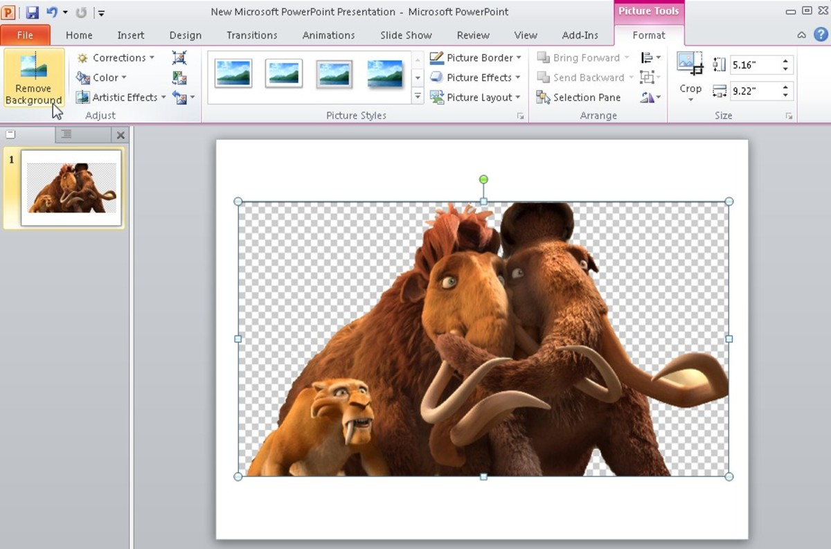 Click on the image to get formatting options of removing background on the top right corner of the top toolbar under picture tools