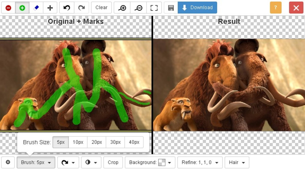 Use the green marking on main center stage characters to keep the images while removing background using clipping magic