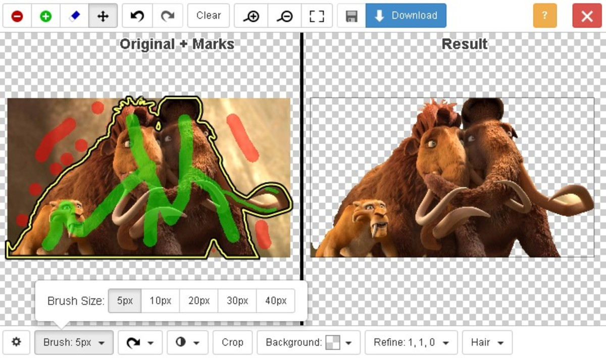 Use the red marking tool of clipping magic to remove the background from the images