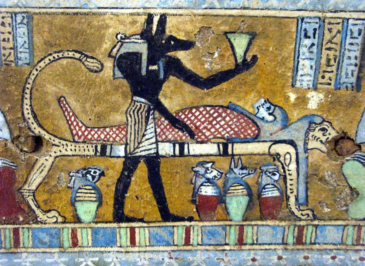 Anubis mummifies Osiris