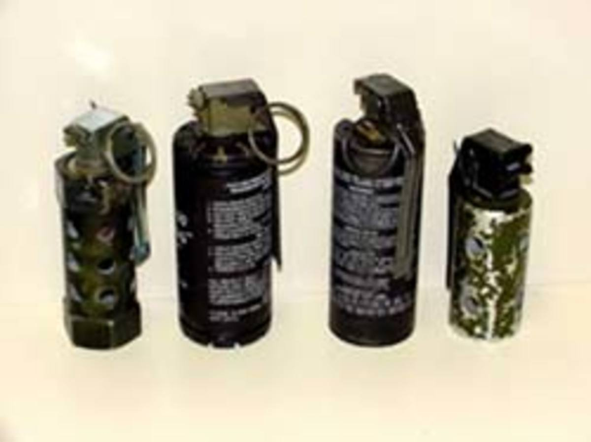 Examples of flashbang devices also called stun grenades intended to disorient the target.