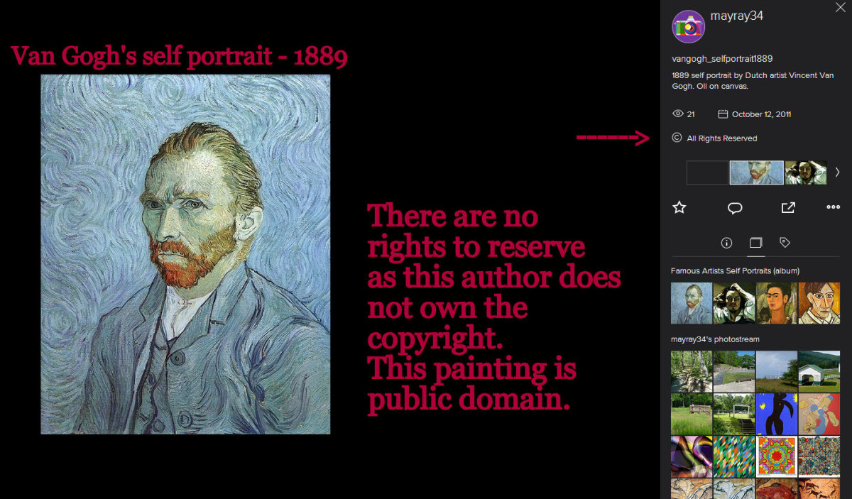 Van Gogh's self portrait of 1889 is public domain