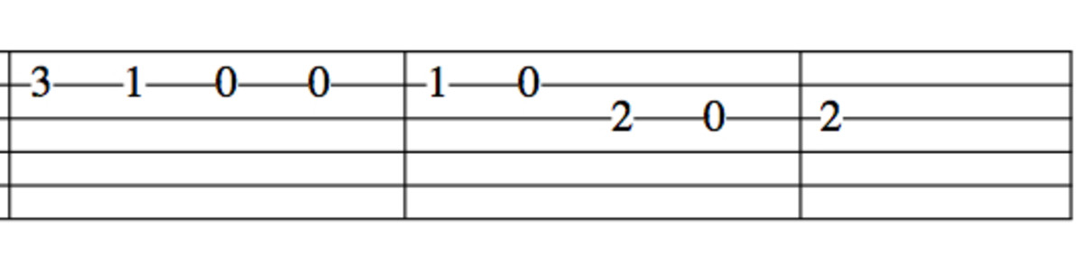 How to read tablature. The sixth string (low E) is on the bottom. The numbers are the frets. For example, the 3 on the second line from the top means to place your finger on the second string on the third fret. 0 means open string