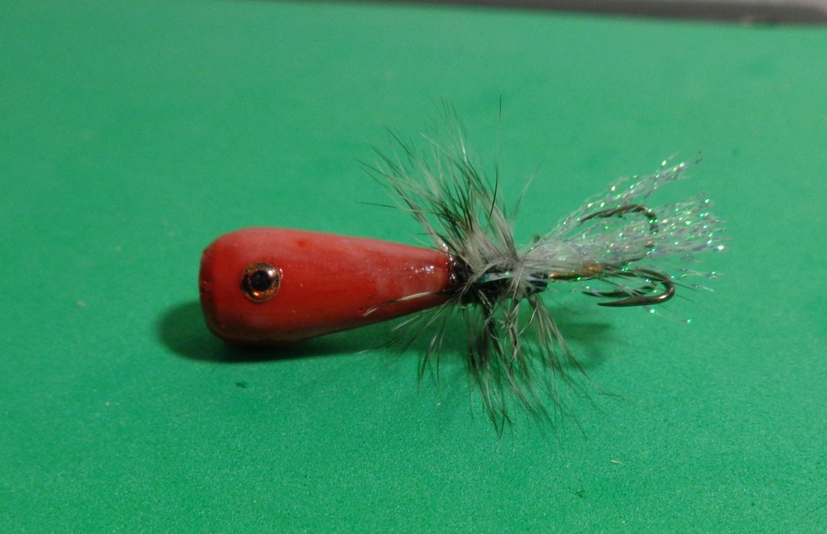 "Tube Popper Fly with ""Fish Eyes"" and a Size 10 Treble Hook"