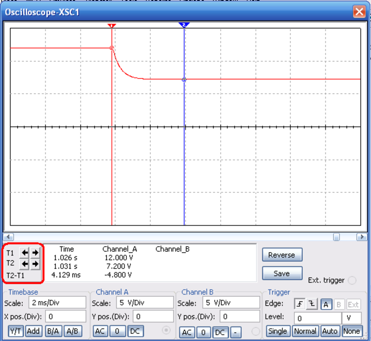 Oscilloscope trace for 'Open switch Closing'.