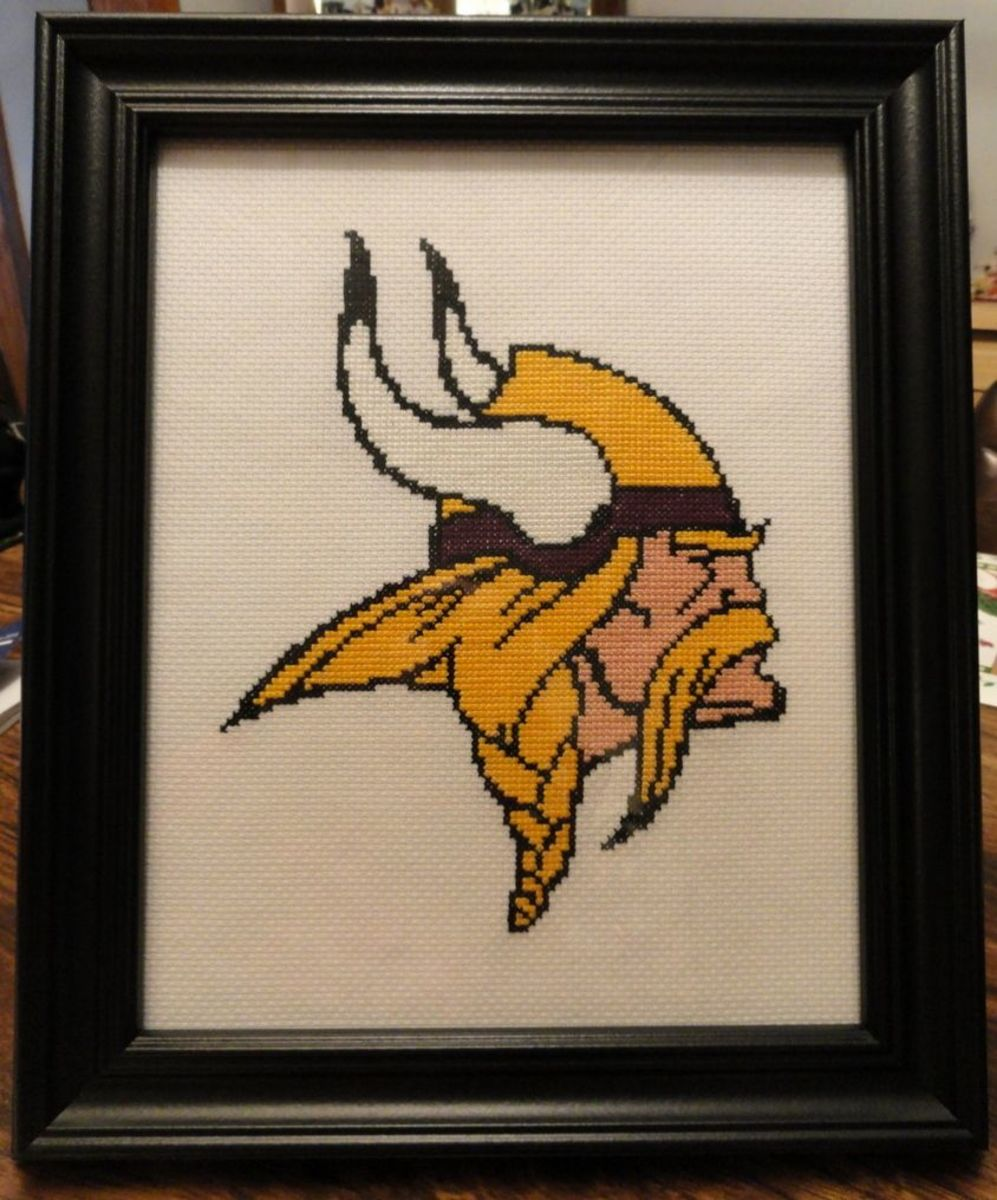 Minnesota Viking Emblem Cross Stitch