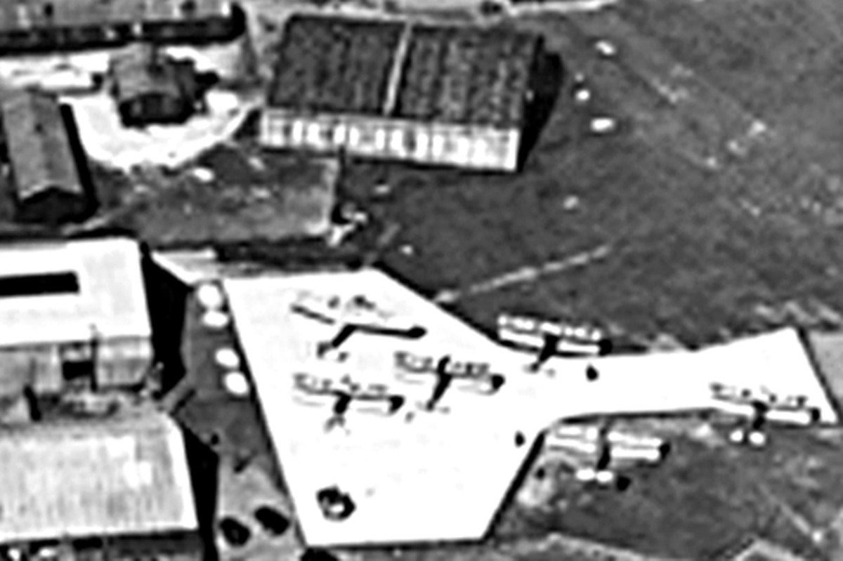 Aerial view of Yeadon Aerodrome in Leeds in the 1930s