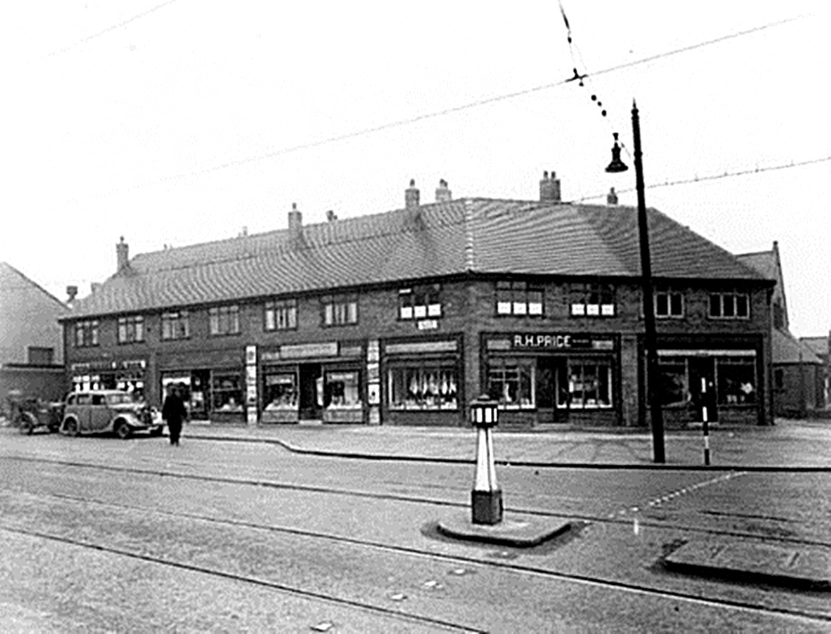 The shops on Balm Road,Hunslet, in the 1940s. Gallons, the food shop where grandma worked, was on the left.