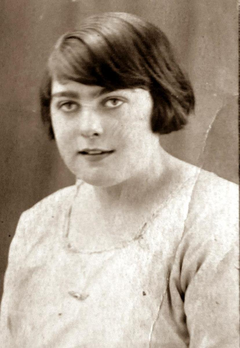 My grandma Ivy Trigg (nee Garnham) as a young woman in the 1920s, when she was credited with having saved her sister Madge's leg when it was septic and she was very ill.